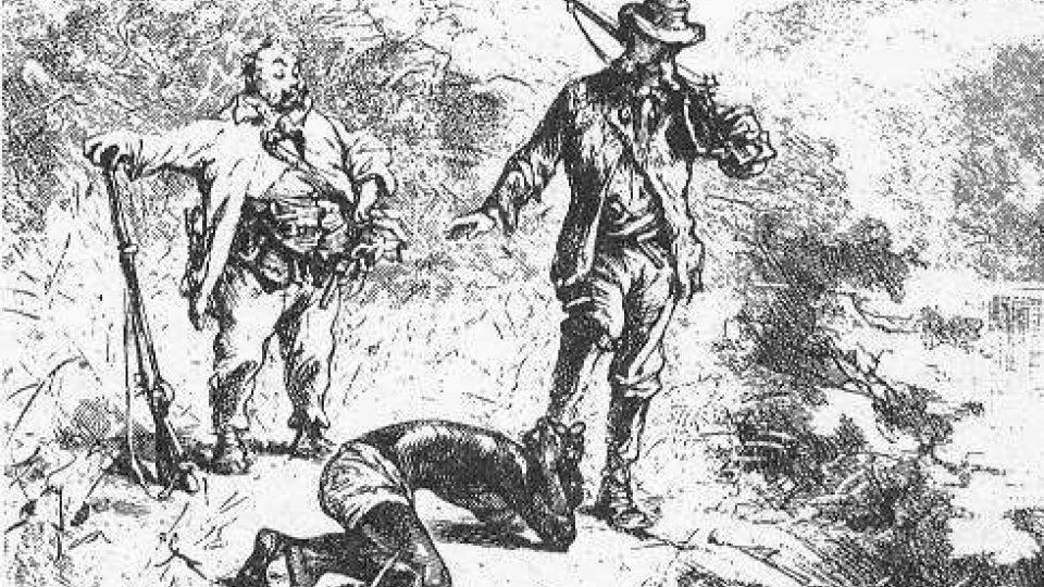 Původní ilustrace k románu Julese Vernea Škola robinsonů (1881), detail