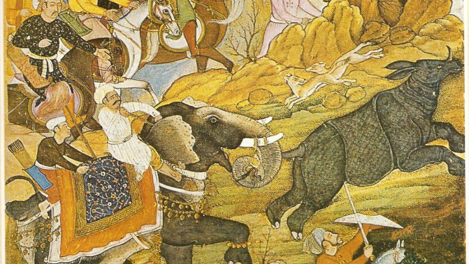 Kresba lovu nosorožců indického vládce Bábura poblíž Péšávaru (před rokem 1530)