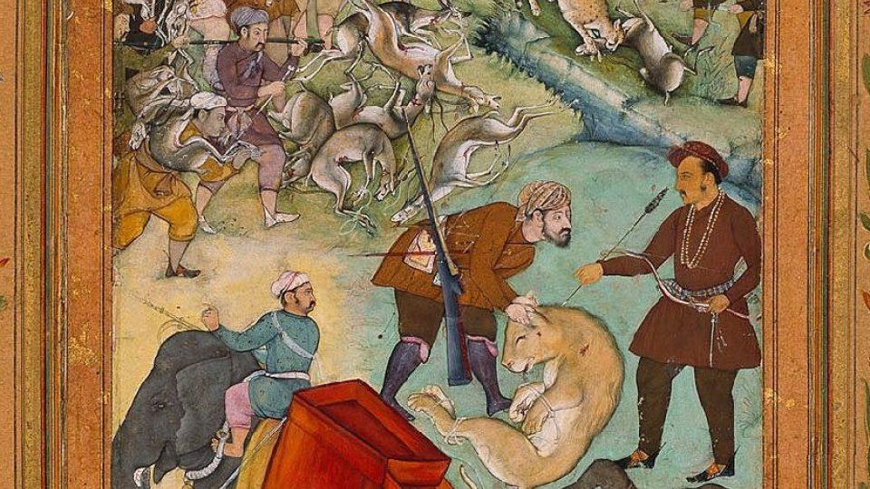 Salim na lovu nosorožců a lvů. Kresba ze Salimovy lovecké knihy (Dublin, 1600)