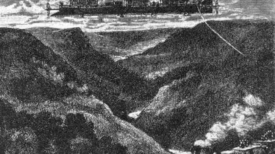 Původní ilustrace (i kolorované) k románu Julese Vernea Robur Dobyvatel