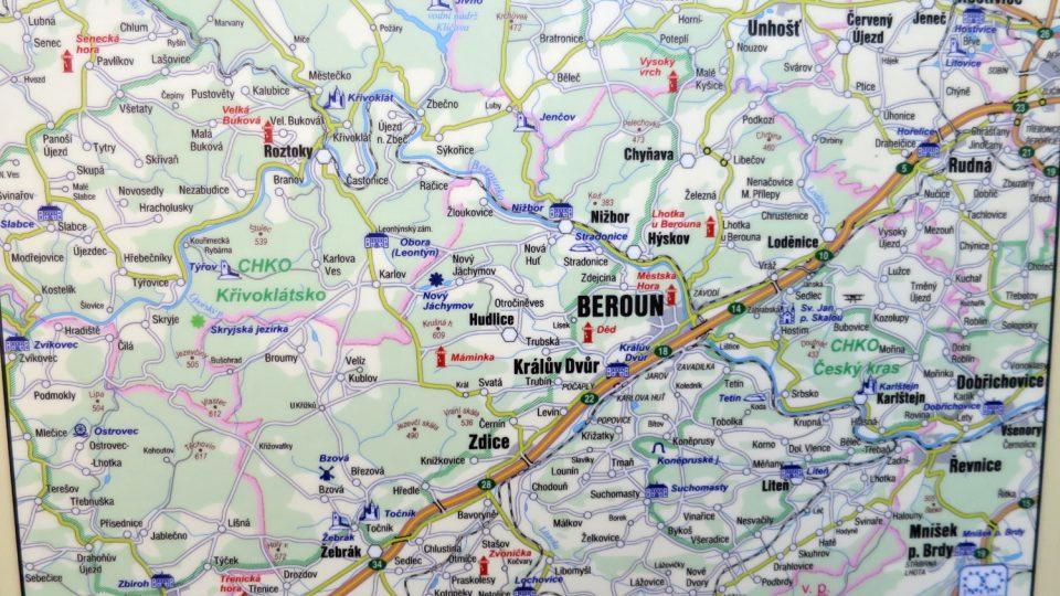 Detailní mapa okolí