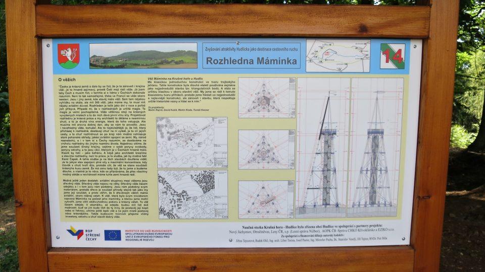 Vysvětlení originální konstrukce rozhledny na jedné z naučných tabulí