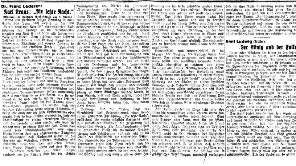 Jeden z mnoha článků Františka Lederera v Prager Tagblatt, 1925, č. 58 str. 3
