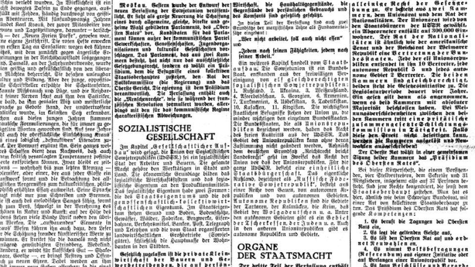 Titulní stránka novinPrager Tagblatt z roku 1936