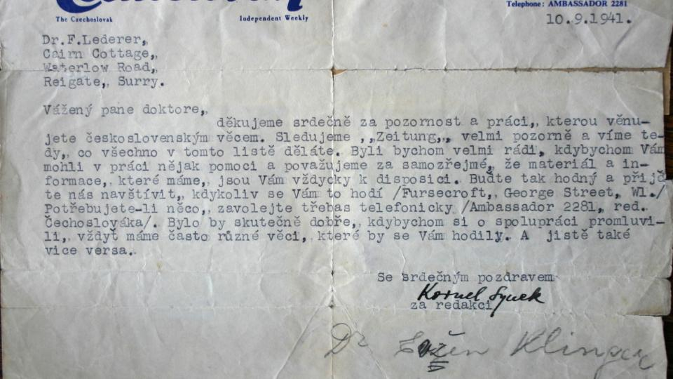Dopis z redakce československých novin ve Velké Británii potzvrzuje, že František Lederer upozorňoval i za války na stránkách německých novin na československou problematiku
