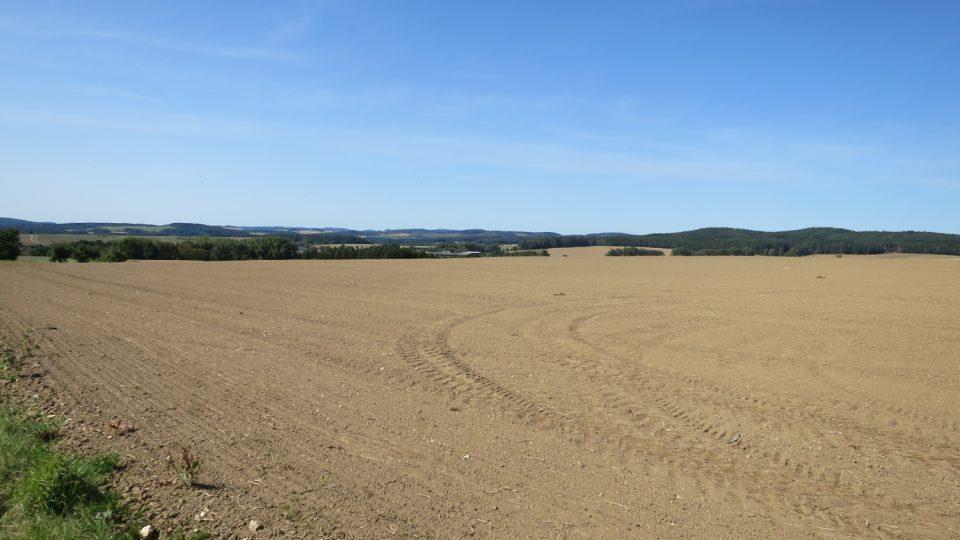 Cesta také vede po mnoha polích Podblanicka