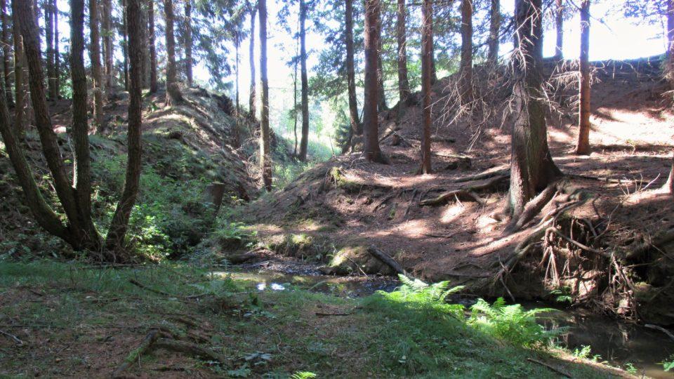 Protržená hráz jednoho z dalších mnhoa rybníků v oblasti