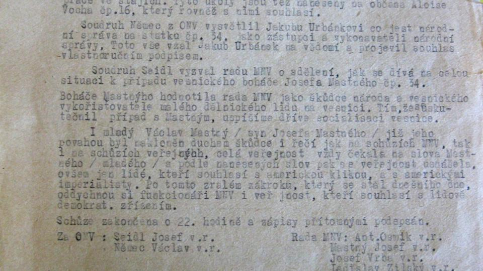 Zápis komunitsických funkcionářů z Úboči 18. března 1952