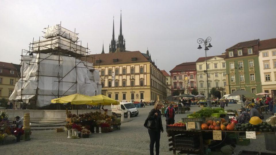 Celkový pohled na kašnu Parnas na Zelném trhu v Brně, v pozadí Katedrála sv. Petra a Pavla