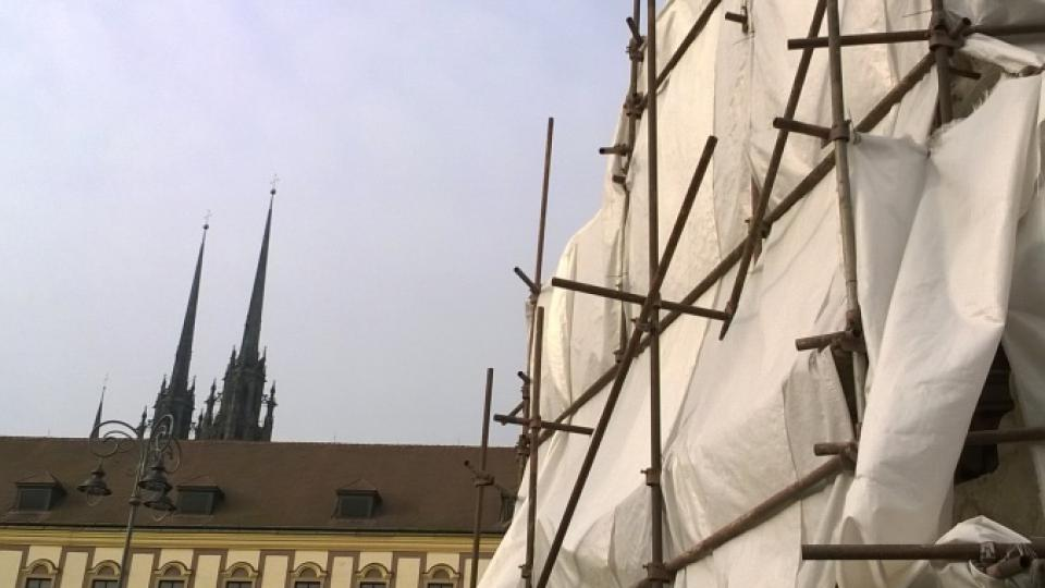 Celkový pohled na kašnu Parnas na Zelném trhu v Brně
