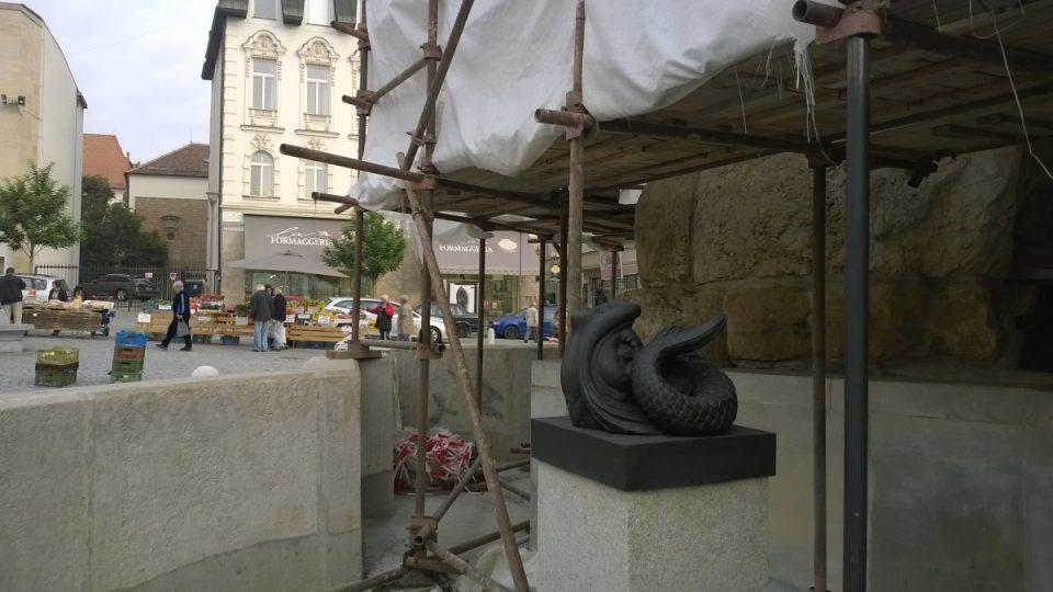 Litinový chrlič kašny Parnas v Brně