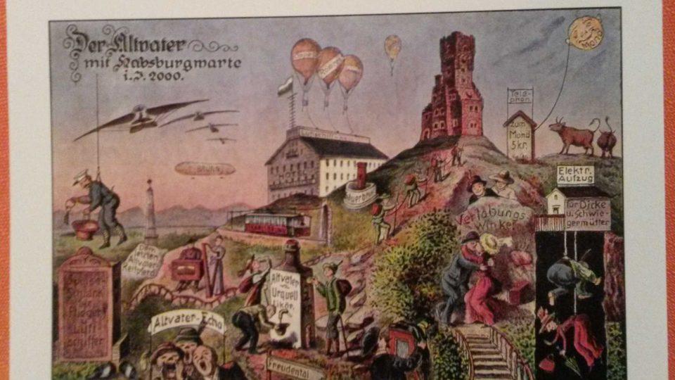 Rozhledna na jedné z historických pohlednic