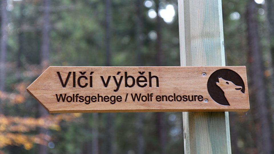 U návštěvnického centra začíná i venkovní okruh s informačními tabulemi, který vede až výběhu vlků