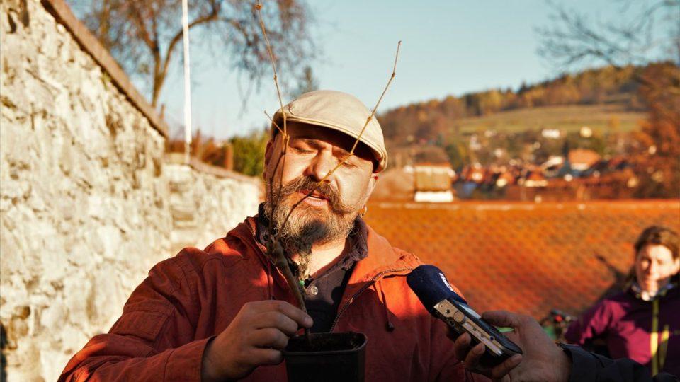 V Krumlově vysadili novou vinici. Na snímku vinohradník Miroslav Valha