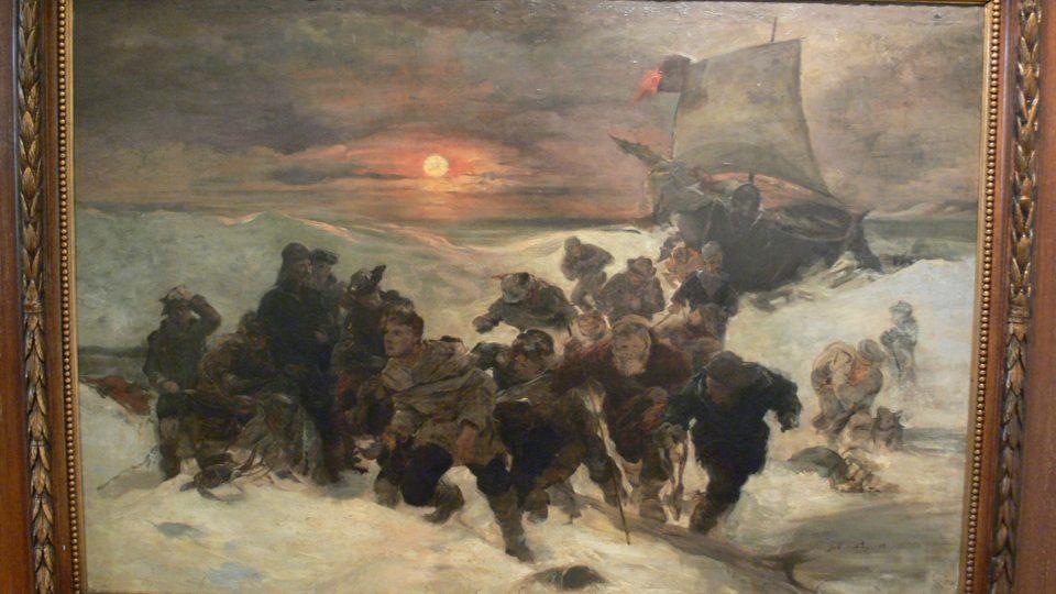 """Podle Payerova obrazu """"Vlečení lodi"""" ztvární nadšenci před vernisáží živý obraz"""