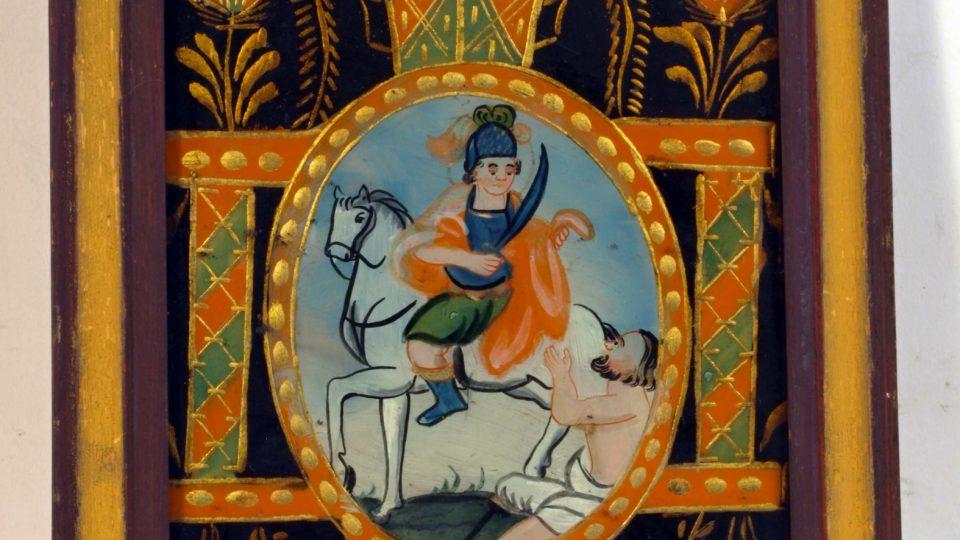 Sv. Martin, malba na skle. Lidová práce, rám zlatý, novější. Kolem roku 1800