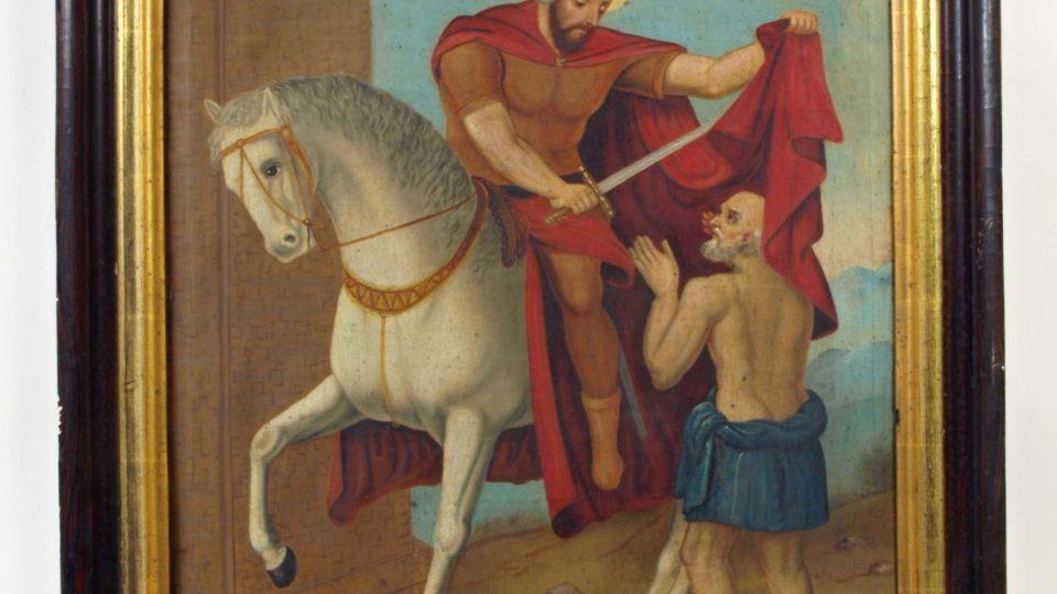 Sv. Martin, olejomalba na plátně lidového rázu, v hnědém rámu. Kolem roku 1860