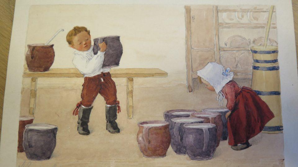 Proces stloukání másla zachytila ve svém cyklu akademická malířka Marie Gardavská - Vlastivědné muzeum Olomouc