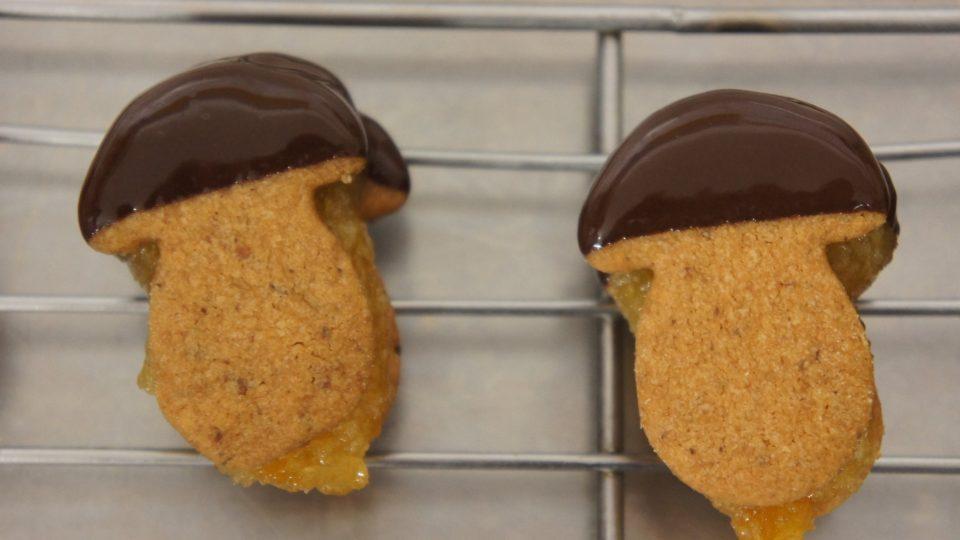 Máslové vaflové hříbečky s čokoládovým kloboukem