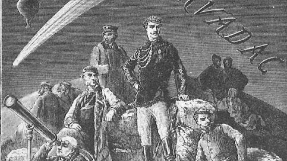 Frontispis Vernova románu Hector Servadac z roku 1877