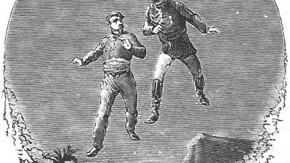 Původní (i kolorované) ilustrace k románu Jelese Vernea Na kometě