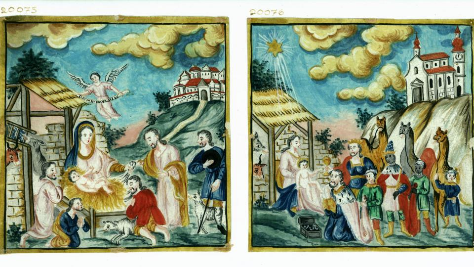 Jezulátko v jesličkách a příchod Tří králů, akvarel na papíře, druhá polovina 19. století