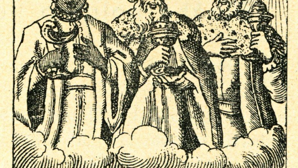 Vyobrazení lístku, jež rozdávali kněží a učitelé při Tříkrálových koledách po domech. Český lid, roč. XIV, 1904 - 5, str. 200