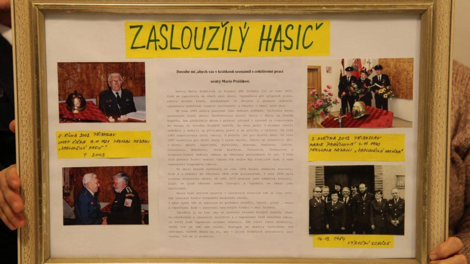 Marie Prášilová získala jako jedna ze dvou žen v Olomouckém kraji titul Zasloužilá hasička