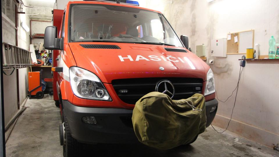 Vůz hasičů z Droždína