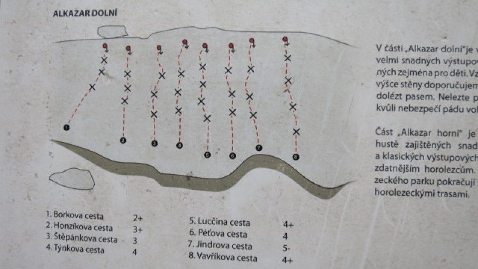 Mapa skob a cest do prnvího patra lomu