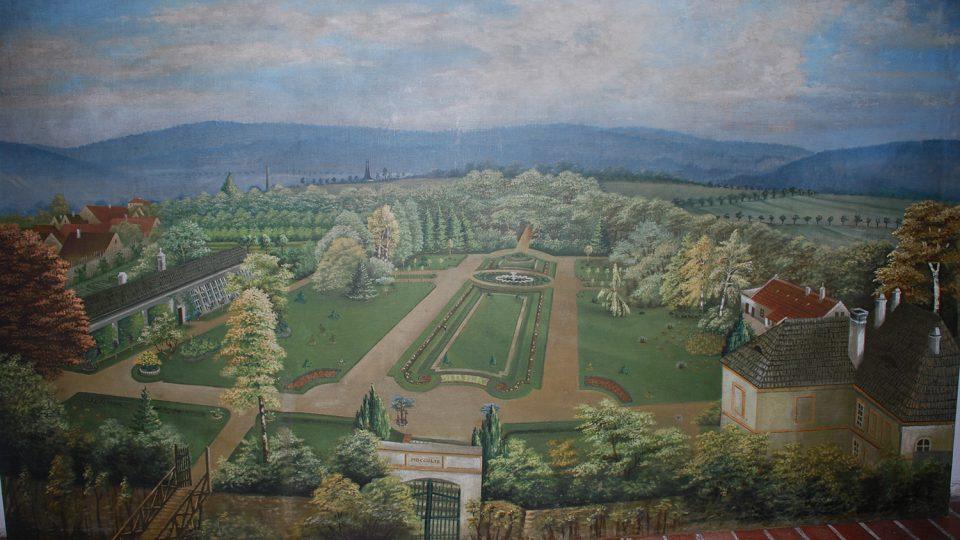 Historická malba zámecké zahrady v Chrasti, autor A. Chlouba, 1904 - 1905