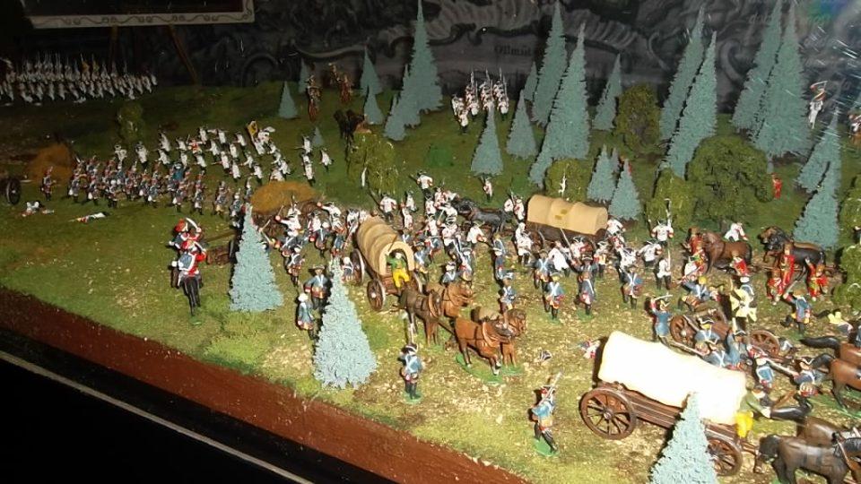 Dioráma bitvy u Domašova s 500 cínovými vojáčky