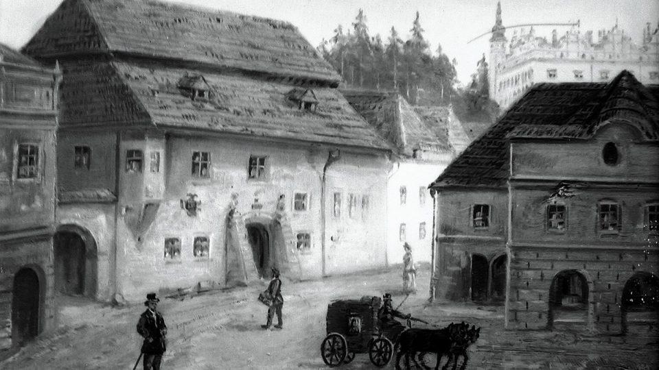 Budova staré pošty v Litomyšli v době na obraze Františka Motyčky. Tak pošta vypadala v době, kdy ji fotografoval Florus Stašek
