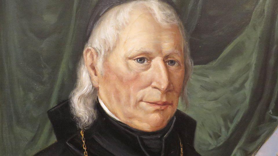 Detail Staškova portrétu v Regionálním muzeu v Litomyšli