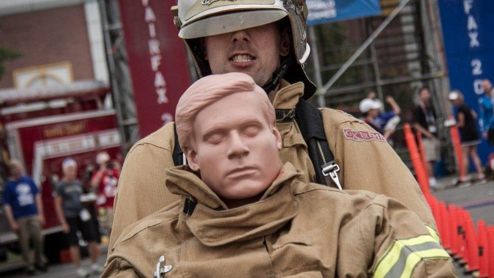 Jirka na soutěžní trati na Policejních a hasičských hrách v USA