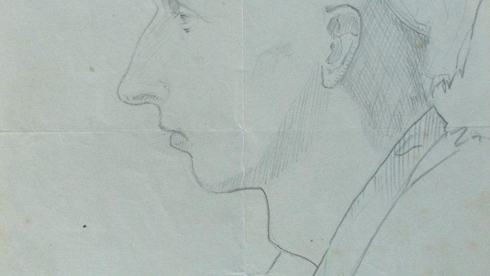 Václav Růžička na kresbě od spoluvězně 1955