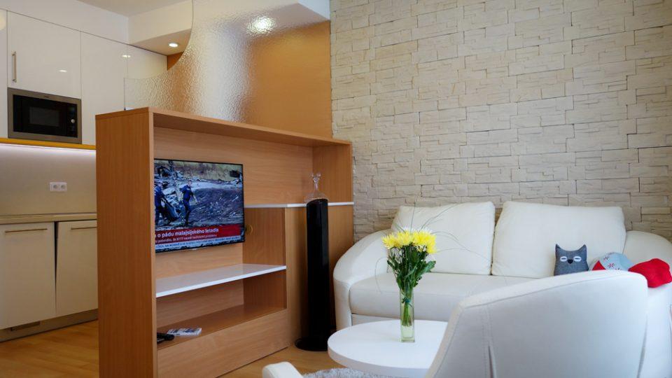 Televizi můžeme umístit do nižší skříňky, která zároveň slouží jako skladovací prostor