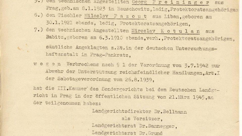 Stránka z rozsudku smrti z roku 1945