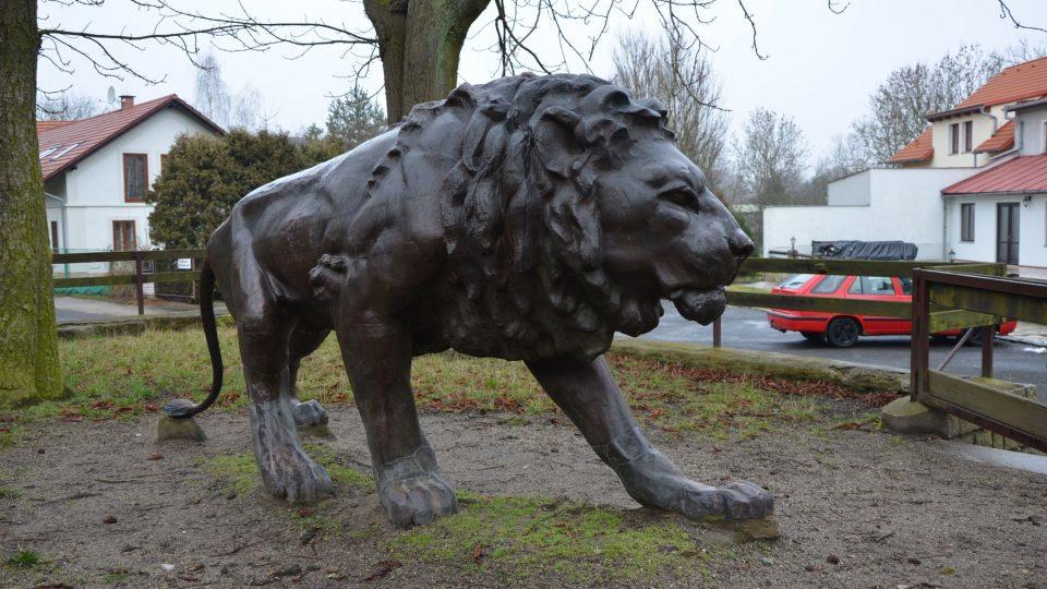 Žatecký lev dnes stojí jen pár desítek metrů od Máchova jezera