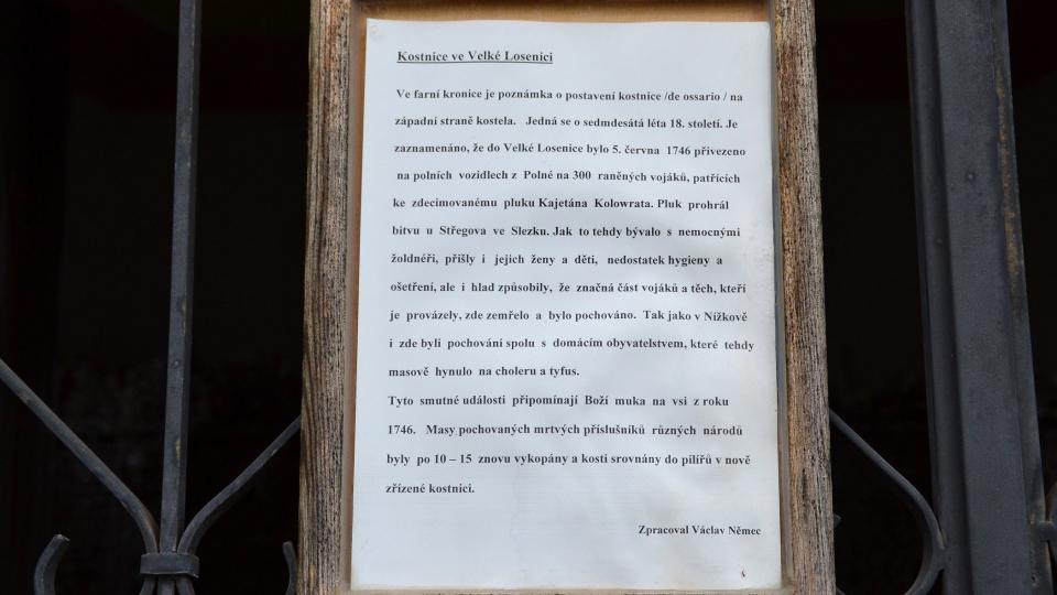Na mříži se píše o všech dobových souvislostech, které sepsal podle místní farní kroniky Václav Němecíše o všech dobových souvislostech, které sepsal podle místní farní kroniky Václav Němec