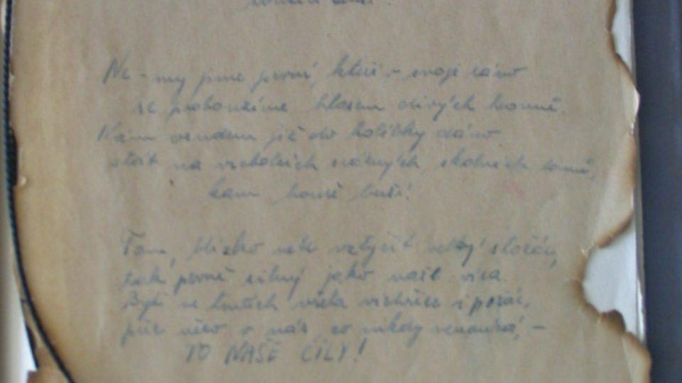 Báseň Jiřího Wolkera zapsaná Annou Hyndrákovou v Terezíně