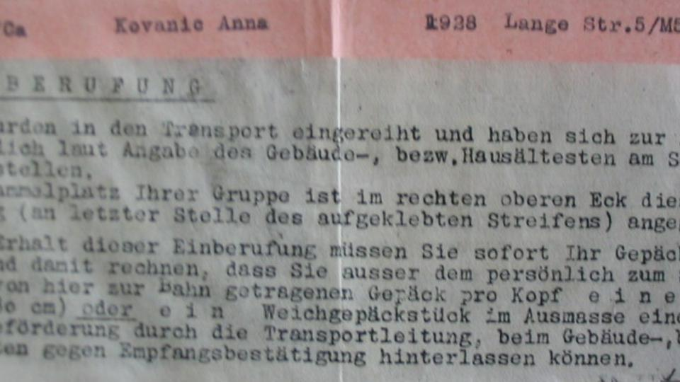 Povolávací rozkaz Anny Hyndrákové do transportu (jízdenka do Osvětimi)
