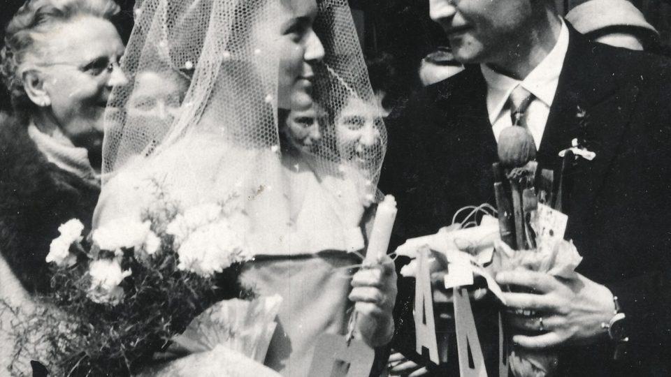 1. svatba Evy Benešové v roce 1960