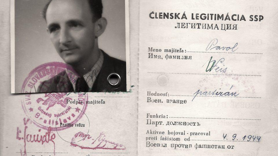 Členská legitimace SSP Pavla Weisze