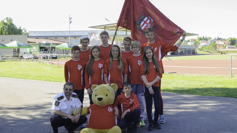 Mladí hasiči z Pomezí na krajském kole hry Plamen v červnu 2015