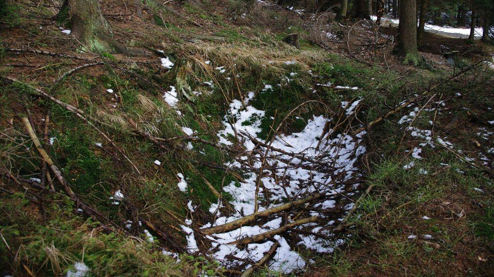 Prohlouběnina v zemi v lese připomíná, že zde bývala vězeňská márnice rejvízského tábora