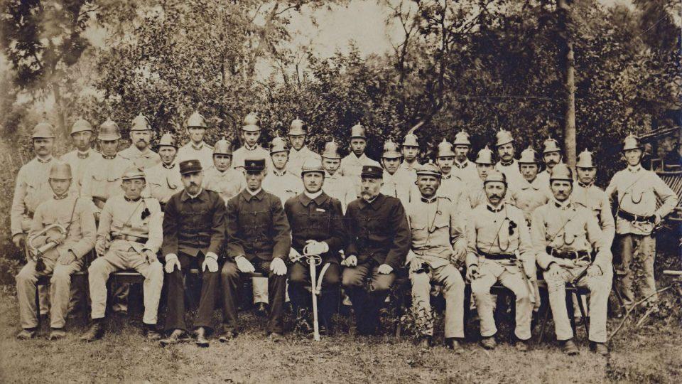 Nejstarší dochovaná fotografie členů hasičského sboru z roku 1900