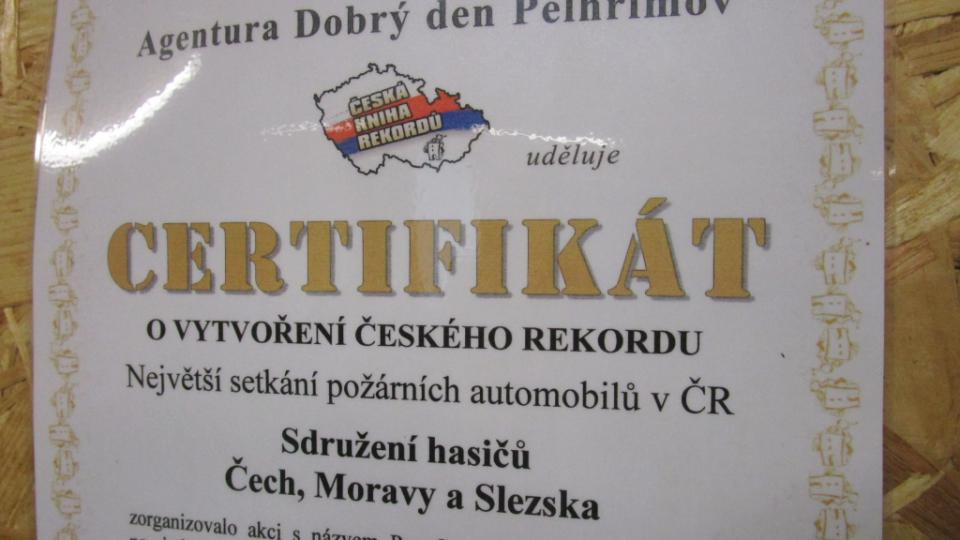 Certifikát potvrzující rekord