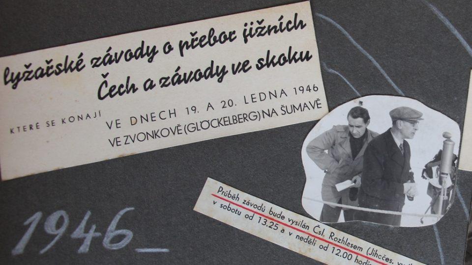 Fotografie ze živého vysílání lyžařských závodů, Vlastimil Tajrych je úplně vpravo u mikrofonu