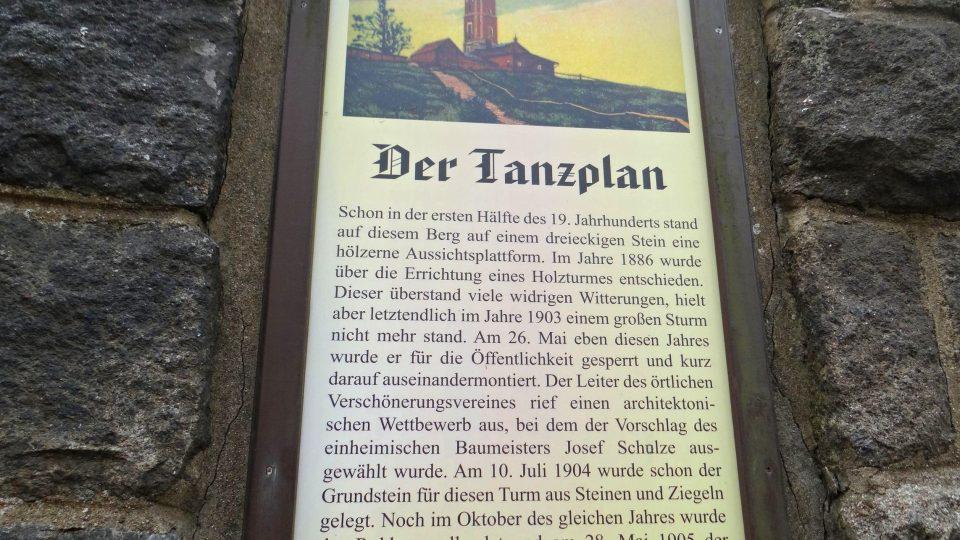 Rozhledna Tanečnice - historie rozhledny v němčině